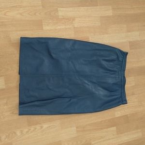 Vintage blue leather skirt